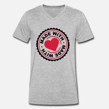 Congratulations certificate round stamp circle made with love logo - Men's Organic V-Neck T-Shirt