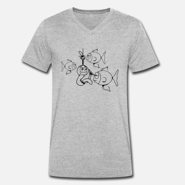 Worm Fishing worm witty - Men's Organic V-Neck T-Shirt