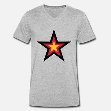 Europe star 3 colors germany nation black red gold flag d - Men's Organic V-Neck T-Shirt