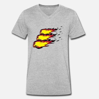 Burning Fire flame fireball formation agro - Men's Organic V-Neck T-Shirt