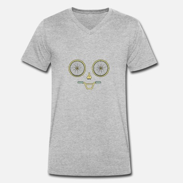 Bike Parts Bicycle bike parts face smile - Men's Organic V-Neck T-Shirt by Stanley & Stella