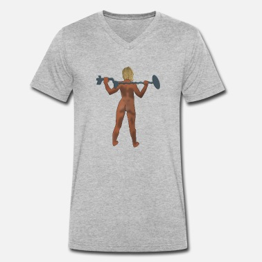 Nudist Naked Sondlerin nudist at the nudist - Men's Organic V-Neck T-Shirt by Stanley & Stella