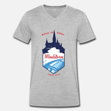 Officialbrands World of Tanks Blitz - Windstorm Winter - Camiseta con cuello de pico hombre
