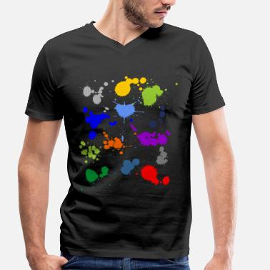 Paint Splash Colorful splashes of color - Men's Organic V-Neck T-Shirt by Stanley & Stella