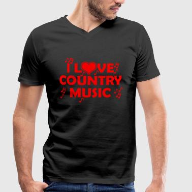 Funny Country Music i love country music - Men's Organic V-Neck T-Shirt by Stanley & Stella