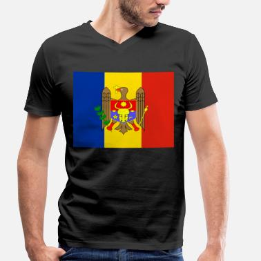 Moldova Flag Flag of Moldova (md) - Men's Organic V-Neck T-Shirt by Stanley & Stella