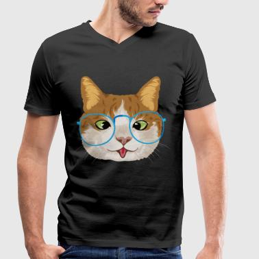Glass Tiger Funny cat with glasses / cat - Men's Organic V-Neck T-Shirt by Stanley & Stella