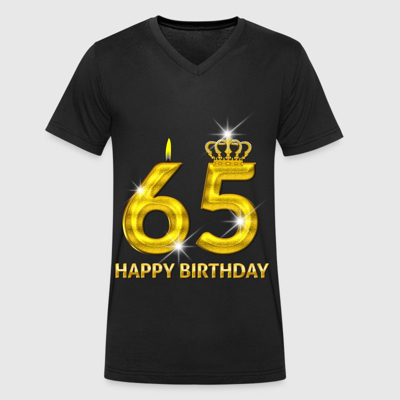 65 - happy birthday - birthday - number gold - Men's Organic V-Neck T-Shirt by Stanley & Stella