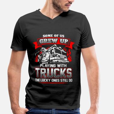 Pick Up Truck FireFighter playing with trucks - EN - Men's Organic V-Neck T-Shirt by Stanley & Stella