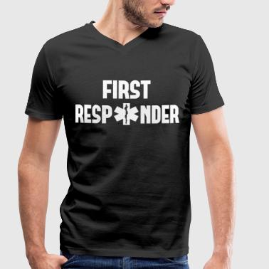 first responder - Men's Organic V-Neck T-Shirt by Stanley & Stella