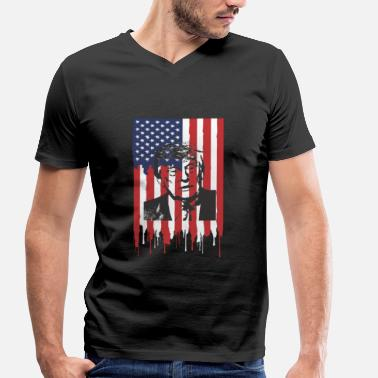 Torn Apart USA Torn States of America - Men's Organic V-Neck T-Shirt by Stanley & Stella