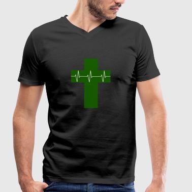 Cross cardiograph Cartography Religion Jesus faith - Men's Organic V-Neck T-Shirt by Stanley & Stella