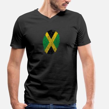 Hanf Fingerprint i love roots jamaica jamaica hanf - Men's Organic V-Neck T-Shirt by Stanley & Stella