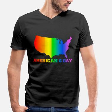 american and gay - Men's Organic V-Neck T-Shirt by Stanley & Stella
