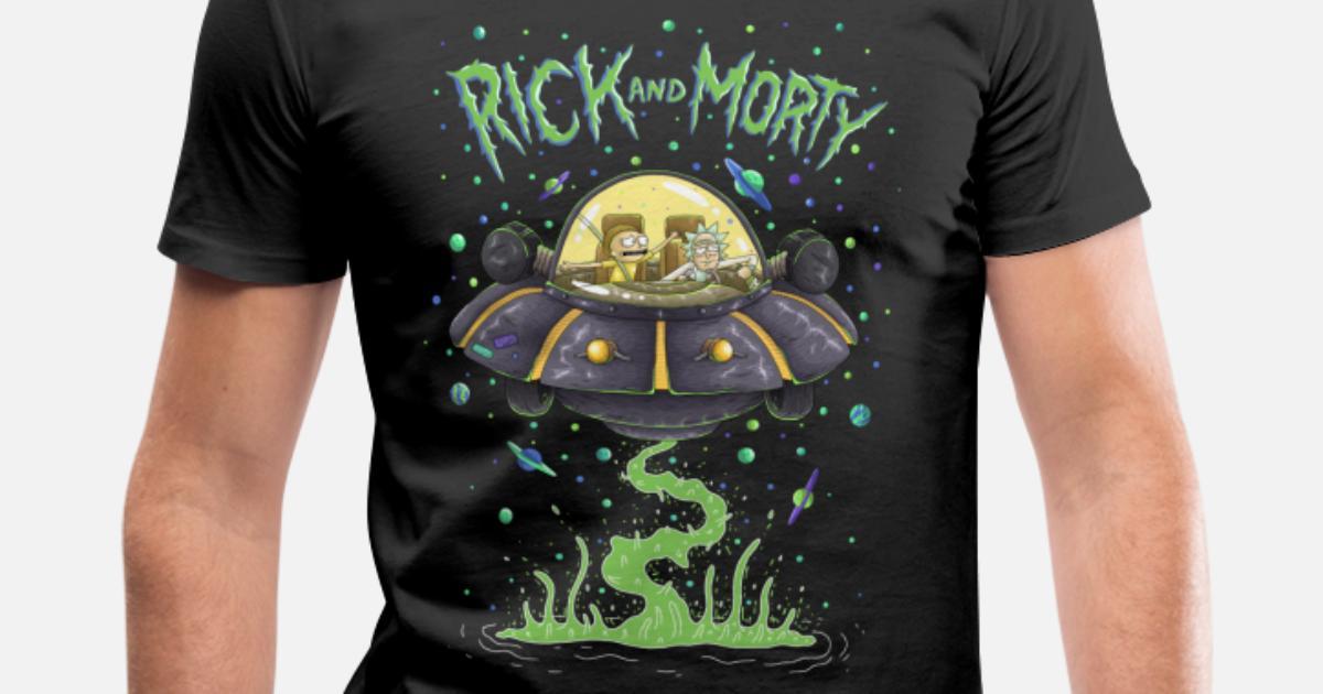 807a48f5 Rick And Morty Spaceship Illustration Men's Organic V-Neck T-Shirt ...