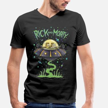 Fan Art Rick And Morty Spaceship Illustration - Men's Organic V-Neck T-Shirt by Stanley & Stella