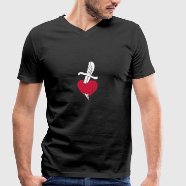 Broken Hearts Love Hate Tattoo Knife blood dagger - T-shirt bio col V Stanley & Stella Homme