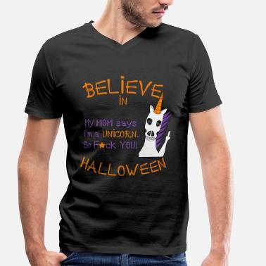 Believe In Unicorns Unicorn Believe in Halloween-cadeau - Mannen bio T-shirt met V-hals van Stanley & Stella