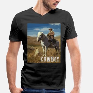 Western Riding Horse Riding Cowboy With Dog Western Horse Dog - Men's Organic V-Neck T-Shirt by Stanley & Stella