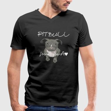 Staffy Dog Cute Pit Bull Dog Puppy Staffi Pet Gift - Men's Organic V-Neck T-Shirt by Stanley & Stella