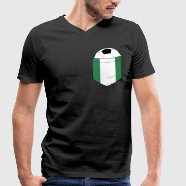 Breasts Football Football Nigeria in the breast pocket - Men's Organic V-Neck T-Shirt by Stanley & Stella