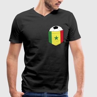Breasts Football Football Senegal in the breast pocket - Men's Organic V-Neck T-Shirt by Stanley & Stella