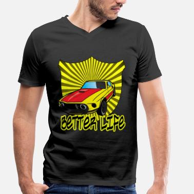 Engineering Life Car Better Life Musclecar Rim Retro Engine - Men's Organic V-Neck T-Shirt by Stanley & Stella