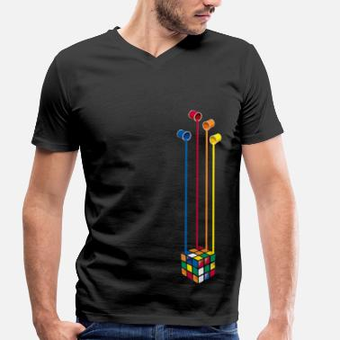 Rubik's Cube Colourful Paint Buckets - Men's Organic V-Neck T-Shirt