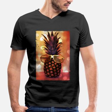 Pineapple grill glass pineapple - grill brille ananas - Men's Organic V-Neck T-Shirt by Stanley & Stella