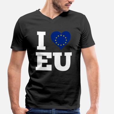 Europe I Love Eu I love EU gift Europe flag in the heart - Men's Organic V-Neck T-Shirt by Stanley & Stella
