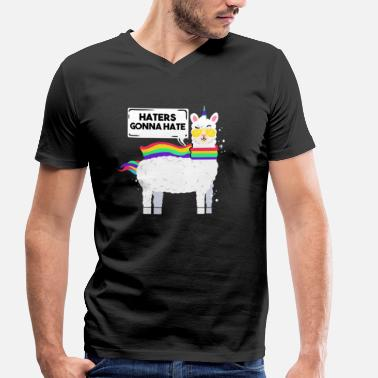 Haters Gonna Hate Unicorn Funny Llamacorn haters gonna hate Unicorn Alpaca - Men's Organic V-Neck T-Shirt by Stanley & Stella