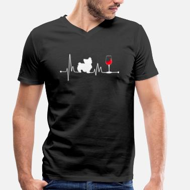 Scottish Terrier Heartbeat EKG Pulse Yorkshire Terrier and Wine - Men's Organic V-Neck T-Shirt by Stanley & Stella