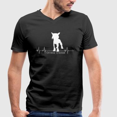 Chinese Crested Shirt-Heartbeat - Men's Organic V-Neck T-Shirt by Stanley & Stella