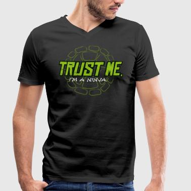 TMNT Turtles Trust Me I'm A Ninja Shield - Men's Organic V-Neck T-Shirt by Stanley & Stella