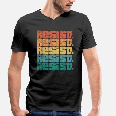 Lgbt Resist resist Anti Trump LGBT Pride Retro - Men's Organic V-Neck T-Shirt by Stanley & Stella