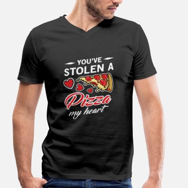 Stolen Goods You've Stolen A Pizza My Heart Valentine's Day  - Men's Organic V-Neck T-Shirt by Stanley & Stella