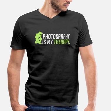 My Therapy Photography is my therapy - therapy - Men's Organic V-Neck T-Shirt by Stanley & Stella