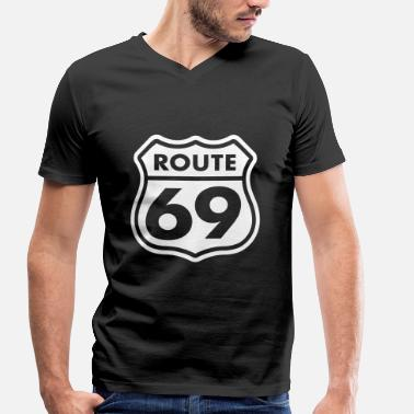 Funny Sex Love 69 Route 69 T-Shirts - Men's Organic V-Neck T-Shirt by Stanley & Stella
