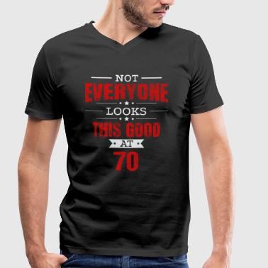 Seventy Perfect 70th Birthday Gift Retro Seventy 70 Years Looks This Good Red - Men's Organic V-Neck T-Shirt by Stanley & Stella
