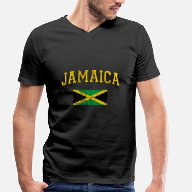 Jamaica Jamaica flag shirt gift Jamaica flag - Men's Organic V-Neck T-Shirt by Stanley & Stella