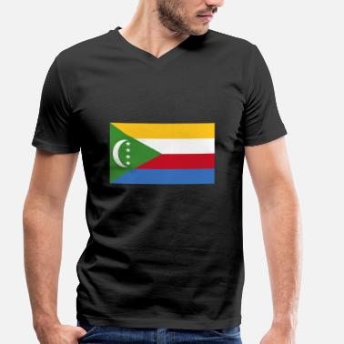 Comoros Comoros Flagg - Men's Organic V-Neck T-Shirt by Stanley & Stella