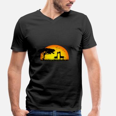 Mama Africa Loving giraffes in the sunset - Africa - Men's Organic V-Neck T-Shirt by Stanley & Stella