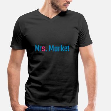 Stock Exchange Mrs. Market Stock Exchange - Men's Organic V-Neck T-Shirt by Stanley & Stella