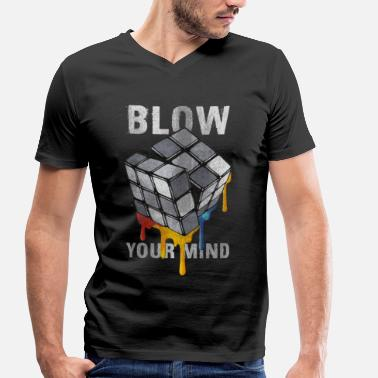 Melting Rubiks Cube Rubik's Cube Blow Your Mind - Men's Organic V-Neck T-Shirt by Stanley & Stella