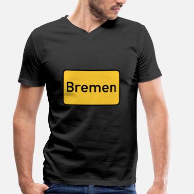 Street Signs Street sign Bremen town sign - Men's Organic V-Neck T-Shirt by Stanley & Stella