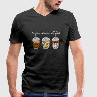 Cappuccino Jokes cappuccino coffee brain gift - Men's Organic V-Neck T-Shirt by Stanley & Stella