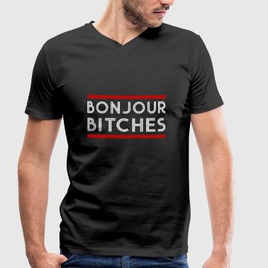 Bonjour Bitches Bonjour Bitches - Men's Organic V-Neck T-Shirt by Stanley & Stella