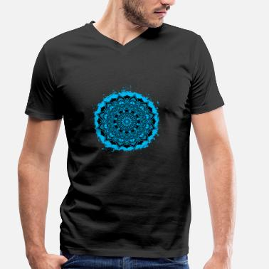 Breezy Mandala spiritual light blue and black outline - Men's Organic V-Neck T-Shirt by Stanley & Stella