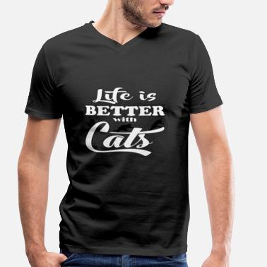 Life Is Better With Life Is Better With Cats - Männer Bio-T-Shirt mit V-Ausschnitt von Stanley & Stella