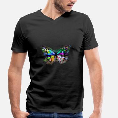 Chromatic Butterfly brightly glowing brightly - Men's Organic V-Neck T-Shirt by Stanley & Stella